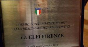 Guelfi Firenze, il premio del Coni