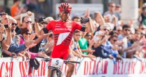 La gioia di Florian Vogel, vincitore al Trofeo Delcar 2015 (Credits: Michele Mondini)