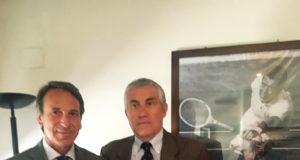 Da sinistra, il nuovo presidente del Circolo Canottieri Roma, Massimo Veneziano, e il nuovo vicepresidente, Stefano Brusadelli