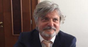 Massimo Ferrero, presidente UC Sampdoria, prima della conferenza stampa di Casa Samp al CONI
