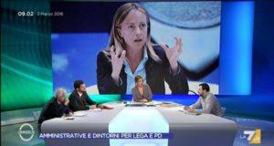 Un'immagine televisiva di Giorgia Meloni, leader di FdI
