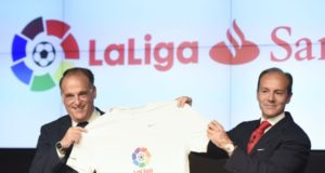 Javier Tebas, President of LaLiga, and Rami Aboukhair, General Manager, Banco Santander Spain, are pictured at the announcement of Santander's new sponsorship of LaLiga in Madrid. (PRNewsFoto/LaLiga)