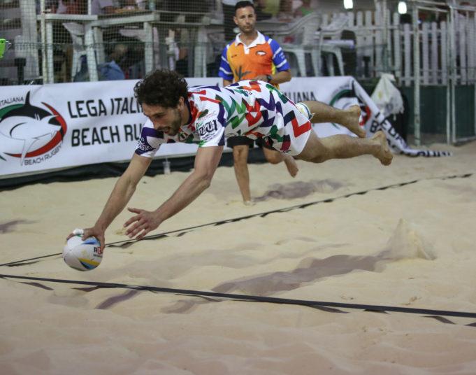10 giugno 2017, FIR, LIBR, Federugby, Beach Rugby Italia, Roma, Lido di Ostia, Pinetina Beach Arena, Coppa Italia Beach Rugby, nella foto meta Padova Beach