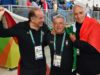 Giovanni Malago (R) President of the Italian National Olympic Committee (CONI), Luciano Rossi (L) President of the Shooting Italian Federation and coach Andrea Benelli (C) after the Skeet Women's final of the Rio 2016 Olympic Games Shooting events at the Olympic Shooting Centre in Rio de Janeiro, Brazil, 12 August 2016. ANSA/ETTORE FERRARI