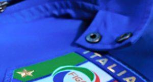 Un dettaglio della maglia azzurra della Nazionale di calcio