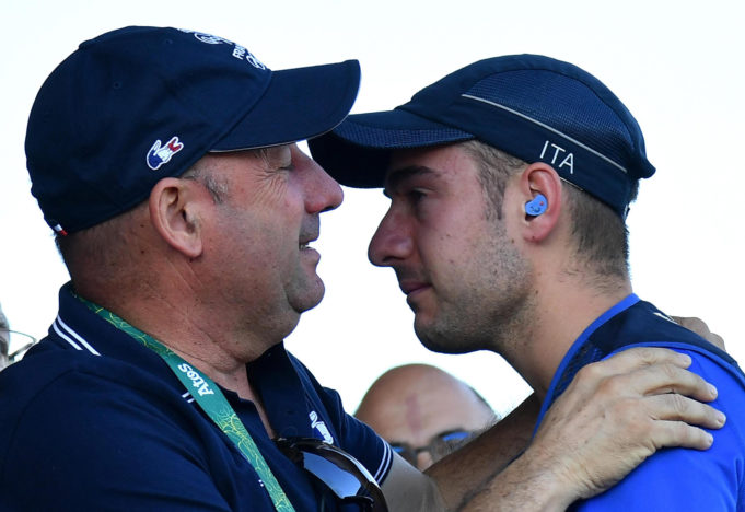 Gold medal Gabriele Rossetti (R) of Italy celebrates with his father Bruno (L) after winning the Skeet Men's final of the Rio 2016 Olympic Games Shooting events at the Olympic Shooting Centre in Rio de Janeiro, Brazil, 13 August 2016. ANSA/ETTORE FERRARI