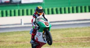 Nicola Carraro in azione a Misano, 2° e 4° nel Round 1-2 dell'ELF CIV Moto3