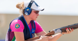 TUCSON - JULY 12: 4th placed Chiara DI MARZIANTONIO of Italy competes in the Skeet Women Final at the Tucson Trap and Skeet Club during Day 2 of the ISSF World Cup Shotgun on July 12, 2018 in Tucson, Arizona, United States of America. (Photo by Nicolo Zangirolami)