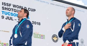 Gold medalist Simone Lorenzo PROSPERI of Italy competes in the Trap Men Final at the Tucson Trap and Skeet Club during Day 7 of the ISSF World Cup Shotgun on July 17, 2018 in Tucson, Arizona, United States of America. (Photo by Nicolo Zangirolami)