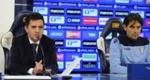 Una immagine tratta dal sito della SSLazio.it di Marco Canigiani (sx) e Simone Inzaghi (dx)