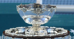 The Davis cup is presented after Serbia won the last singles Davis Cup tennis match finals between Serbia and France , at Belgrade Arena on December 5 , 2010. AFP PHOTO / ANDREJ ISAKOVIC (Photo credit should read ANDREJ ISAKOVIC/AFP/Getty Images)