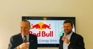 Nella foto il Presidente della Lega B, Mauro Balata, e Athletes Marketing Manager di Red Bull, Luca Magni